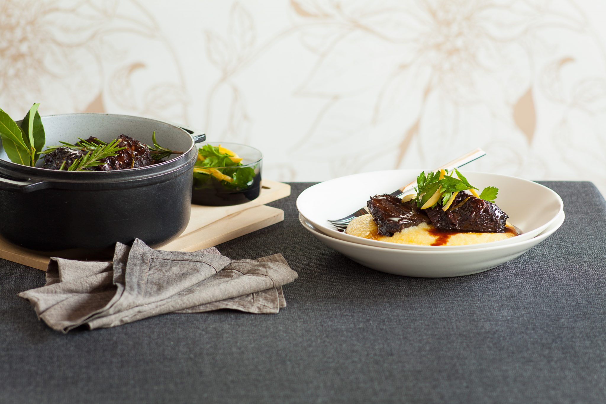 Recipe: Red wine and port braised beef cheeks on soft polenta