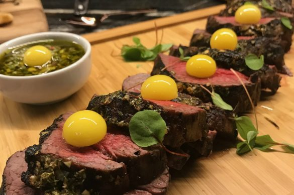 Tenderloin with quail eggs