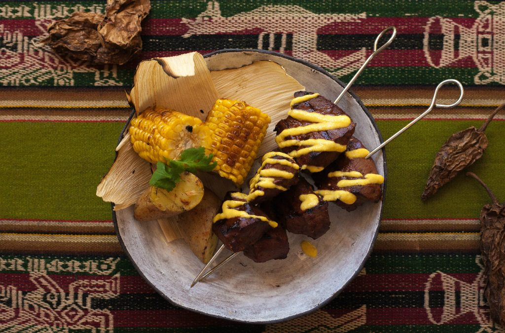 Recipe: Beef heart anticuchos with herbed mayo