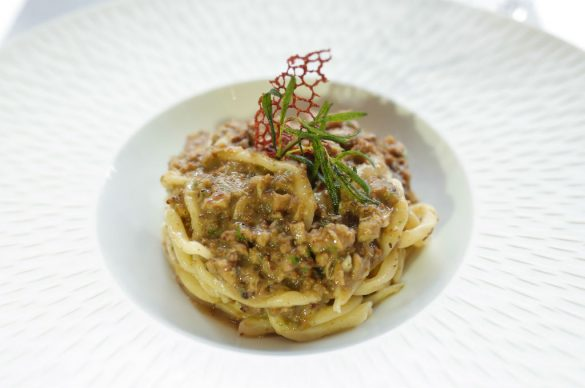 Handmade pici with white Tuscan ragout