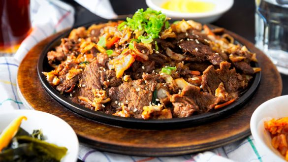 Plate with beef stir fry